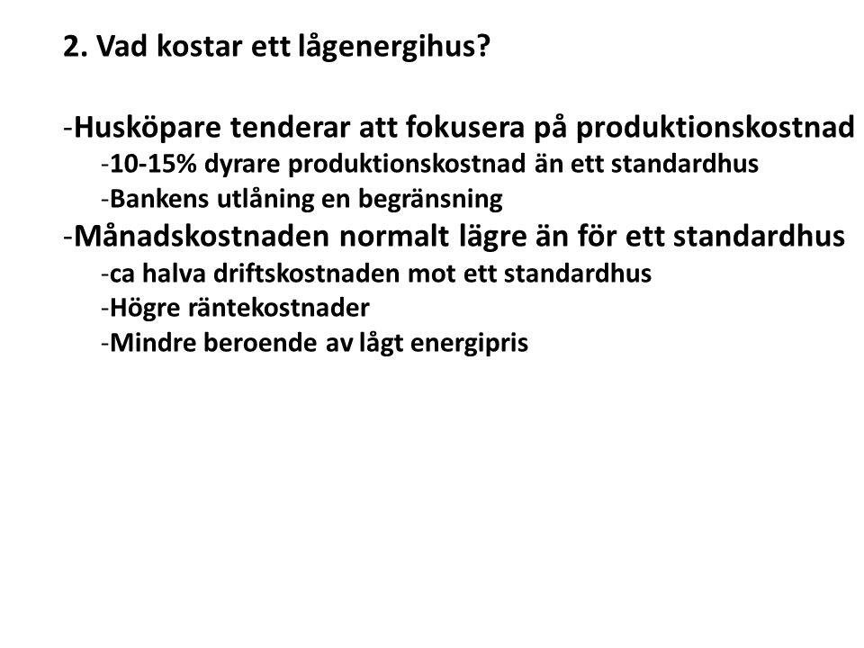 2. Vad kostar ett lågenergihus? -Husköpare tenderar att fokusera på produktionskostnad -10-15% dyrare produktionskostnad än ett standardhus -Bankens u