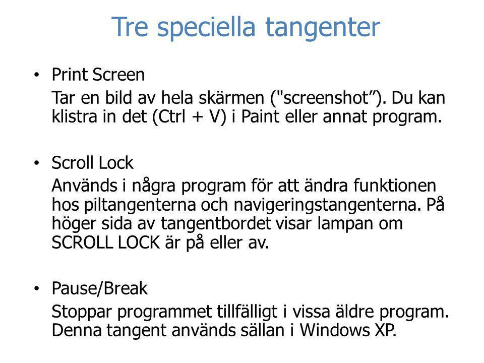 Tre speciella tangenter • Print Screen Tar en bild av hela skärmen (