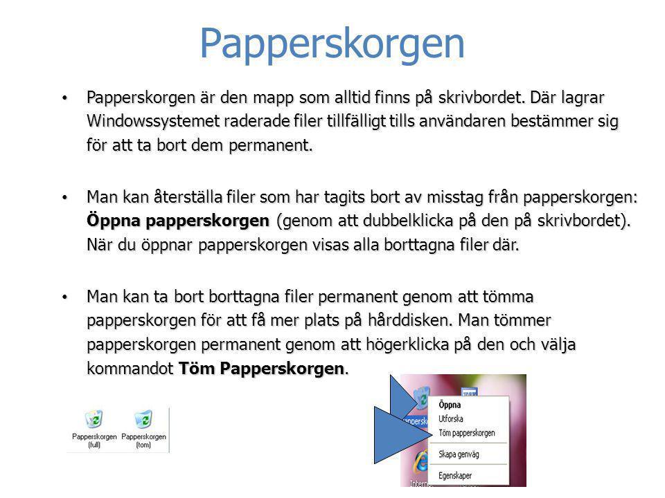 • Papperskorgen är den mapp som alltid finns på skrivbordet. Där lagrar Windowssystemet raderade filer tillfälligt tills användaren bestämmer sig för