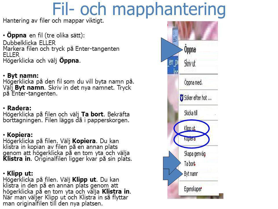 Fil- och mapphantering Hantering av filer och mappar viktigt. • Öppna en fil (tre olika sätt): Dubbelklicka ELLER Markera filen och tryck på Enter-tan