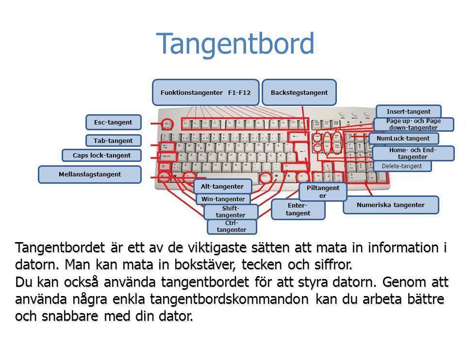 Tangentbord Tangentbordet är ett av de viktigaste sätten att mata in information i datorn. Man kan mata in bokstäver, tecken och siffror. Du kan också