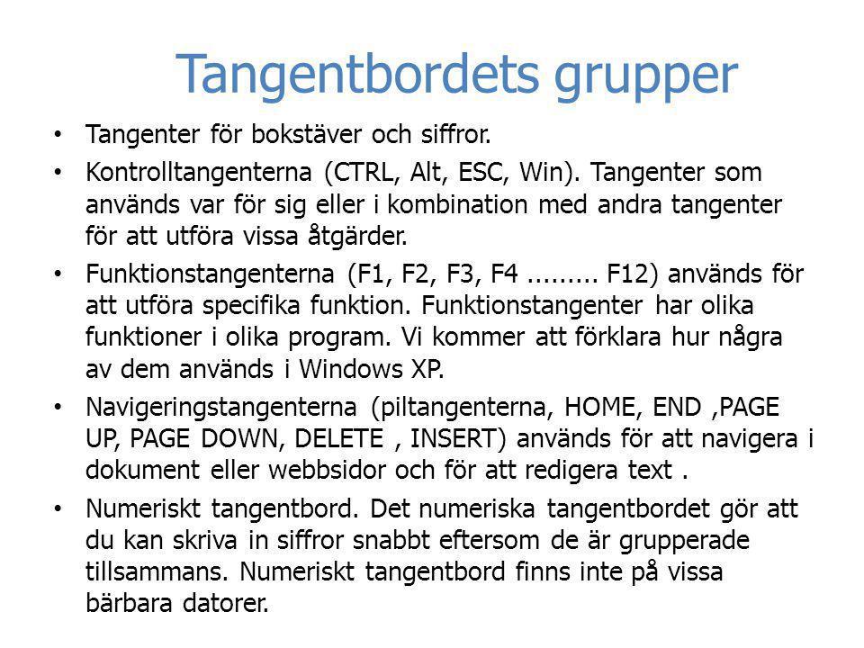 Tangentbordets grupper • Tangenter för bokstäver och siffror. • Kontrolltangenterna (CTRL, Alt, ESC, Win). Tangenter som används var för sig eller i k