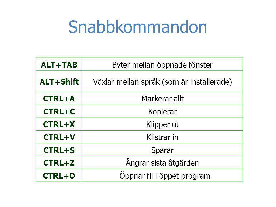 Snabbkommandon Byter mellan öppnade fönsterALT+TAB Växlar mellan språk (som är installerade)ALT+Shift Markerar alltCTRL+A KopierarCTRL+C Klipper utCTR