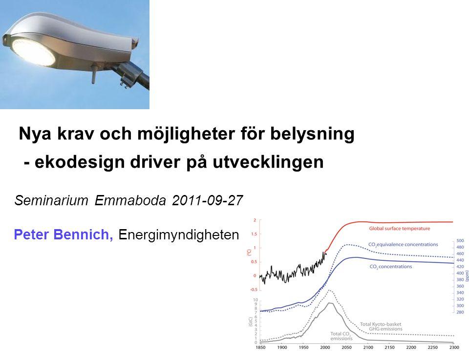 Nya krav och möjligheter för belysning - ekodesign driver på utvecklingen Seminarium Emmaboda 2011-09-27 Peter Bennich, Energimyndigheten