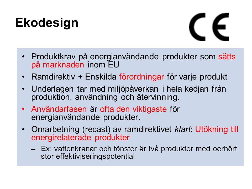 Ekodesign •Produktkrav på energianvändande produkter som sätts på marknaden inom EU •Ramdirektiv + Enskilda förordningar för varje produkt •Underlagen