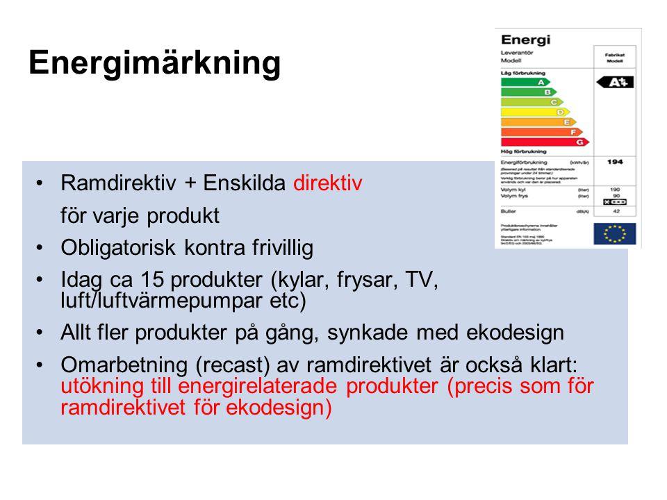 Energimärkning •Ramdirektiv + Enskilda direktiv för varje produkt •Obligatorisk kontra frivillig •Idag ca 15 produkter (kylar, frysar, TV, luft/luftvä