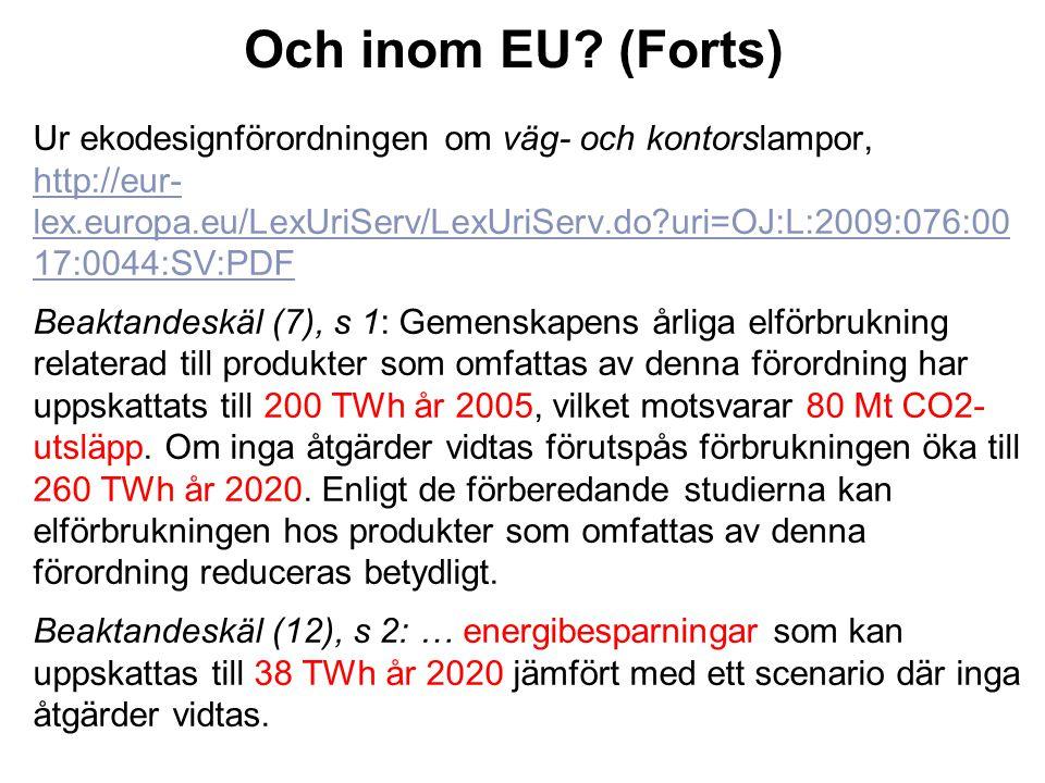 Och inom EU? (Forts) Ur ekodesignförordningen om väg- och kontorslampor, http://eur- lex.europa.eu/LexUriServ/LexUriServ.do?uri=OJ:L:2009:076:00 17:00