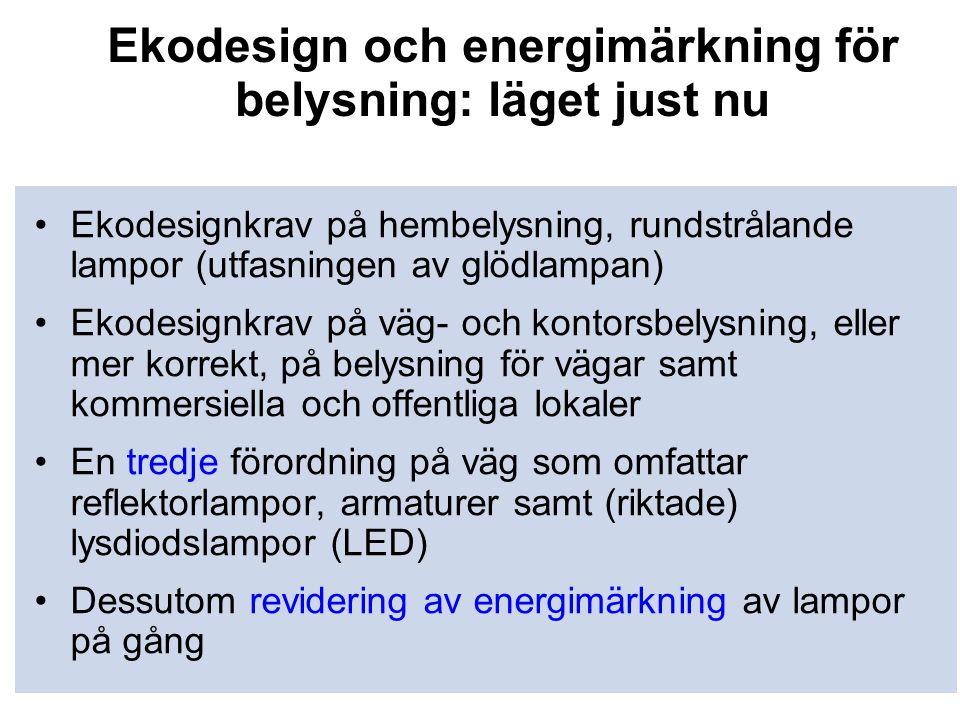 Ekodesign och energimärkning för belysning: läget just nu •Ekodesignkrav på hembelysning, rundstrålande lampor (utfasningen av glödlampan) •Ekodesignk