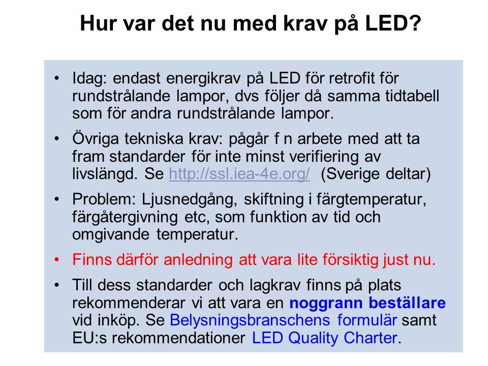 Hur var det nu med krav på LED? •Idag: endast energikrav på LED för retrofit för rundstrålande lampor, dvs följer då samma tidtabell som för andra run