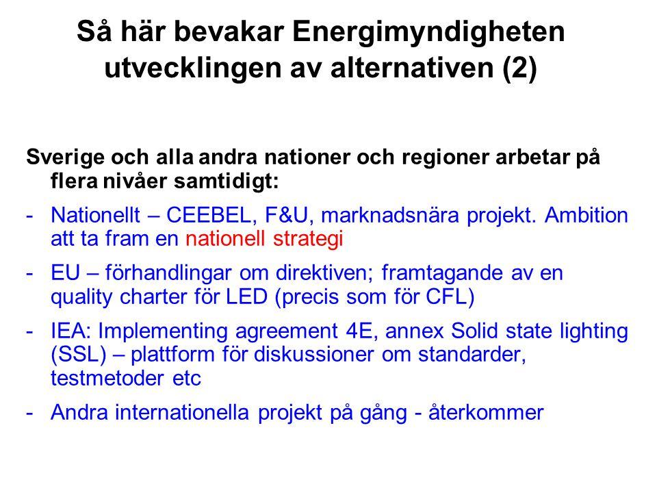 Så här bevakar Energimyndigheten utvecklingen av alternativen (2) Sverige och alla andra nationer och regioner arbetar på flera nivåer samtidigt: -Nat