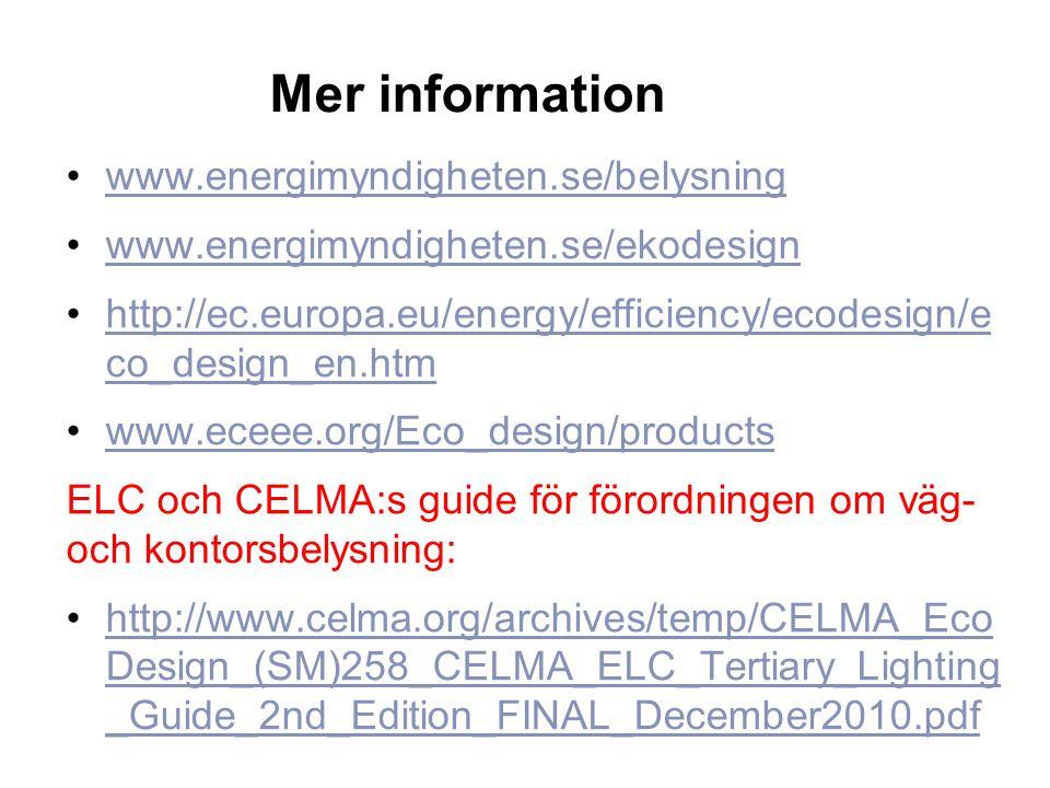Mer information •www.energimyndigheten.se/belysningwww.energimyndigheten.se/belysning •www.energimyndigheten.se/ekodesignwww.energimyndigheten.se/ekod