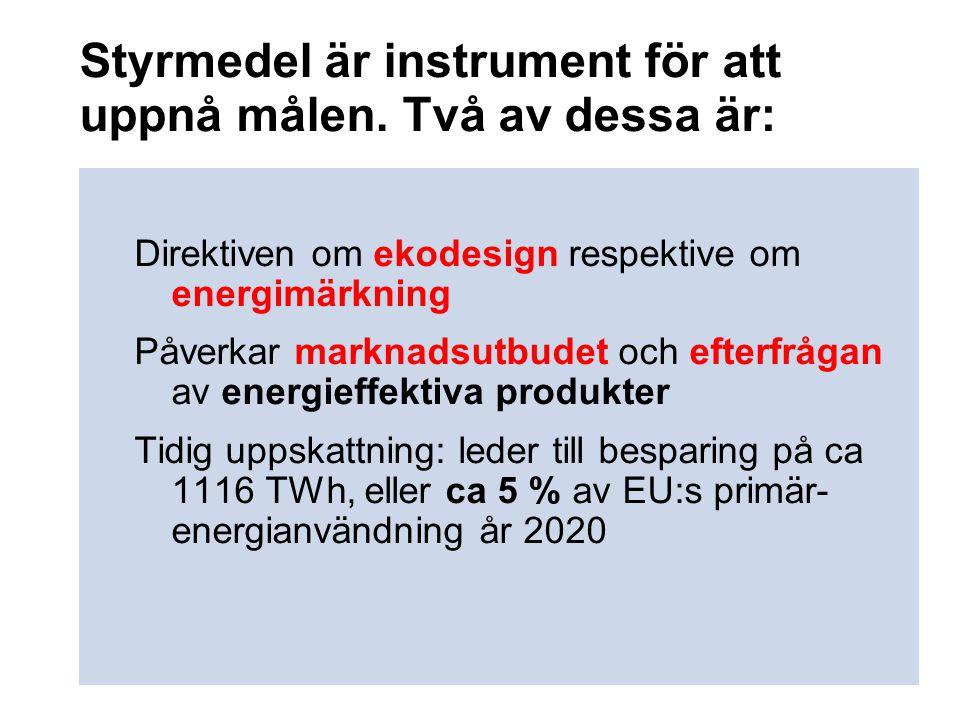 Styrmedel är instrument för att uppnå målen. Två av dessa är: Direktiven om ekodesign respektive om energimärkning Påverkar marknadsutbudet och efterf