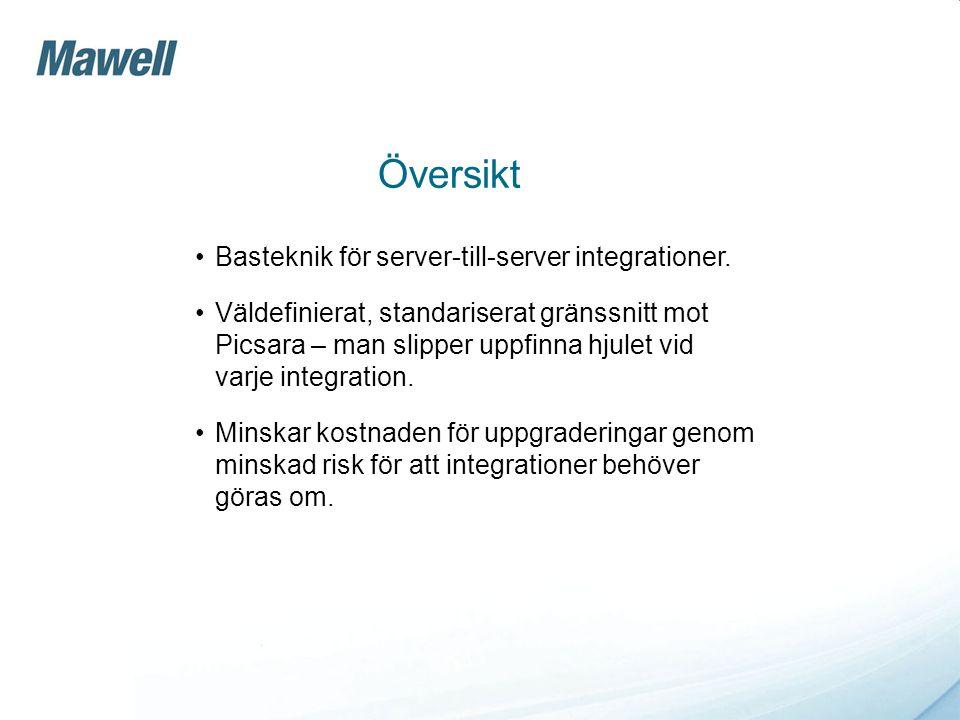 Översikt •Basteknik för server-till-server integrationer. •Väldefinierat, standariserat gränssnitt mot Picsara – man slipper uppfinna hjulet vid varje