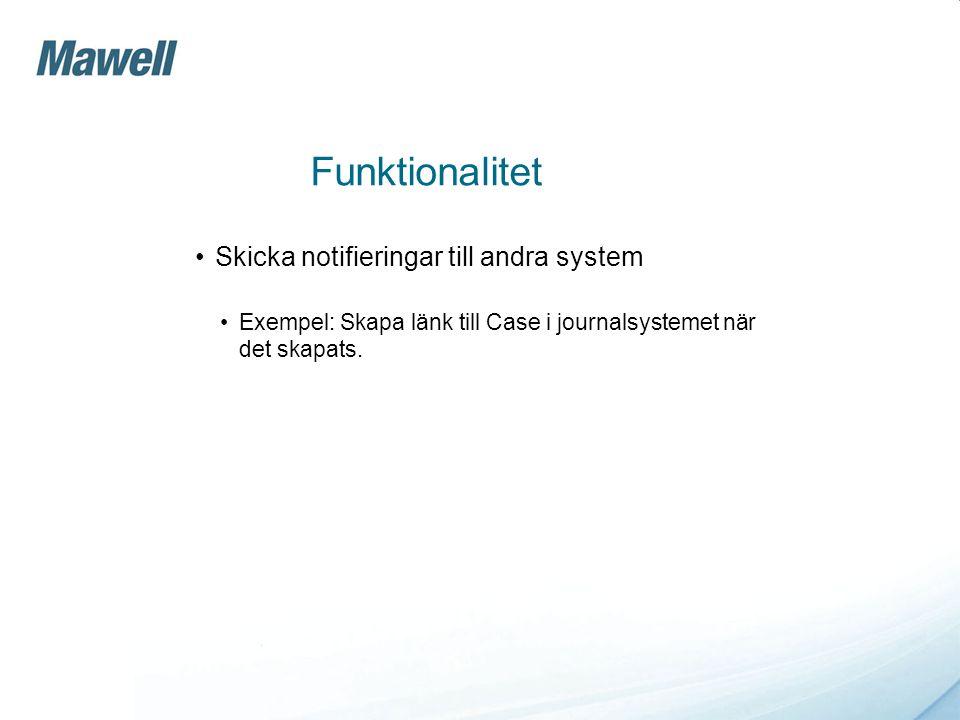 Funktionalitet •Skicka notifieringar till andra system •Exempel: Skapa länk till Case i journalsystemet när det skapats.