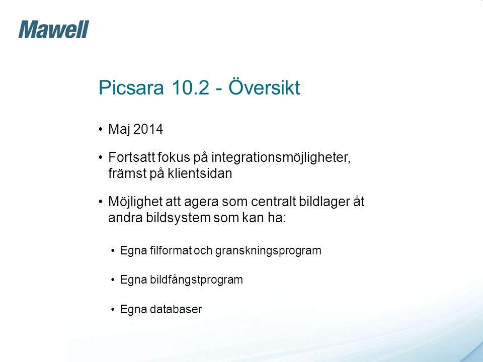 Picsara 10.2 - Översikt •Maj 2014 •Fortsatt fokus på integrationsmöjligheter, främst på klientsidan •Möjlighet att agera som centralt bildlager åt and