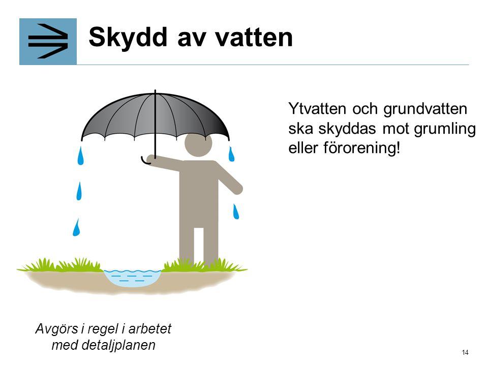 Skydd av vatten Ytvatten och grundvatten ska skyddas mot grumling eller förorening! Avgörs i regel i arbetet med detaljplanen 14