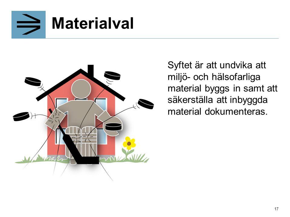 Materialval Syftet är att undvika att miljö- och hälsofarliga material byggs in samt att säkerställa att inbyggda material dokumenteras. 17