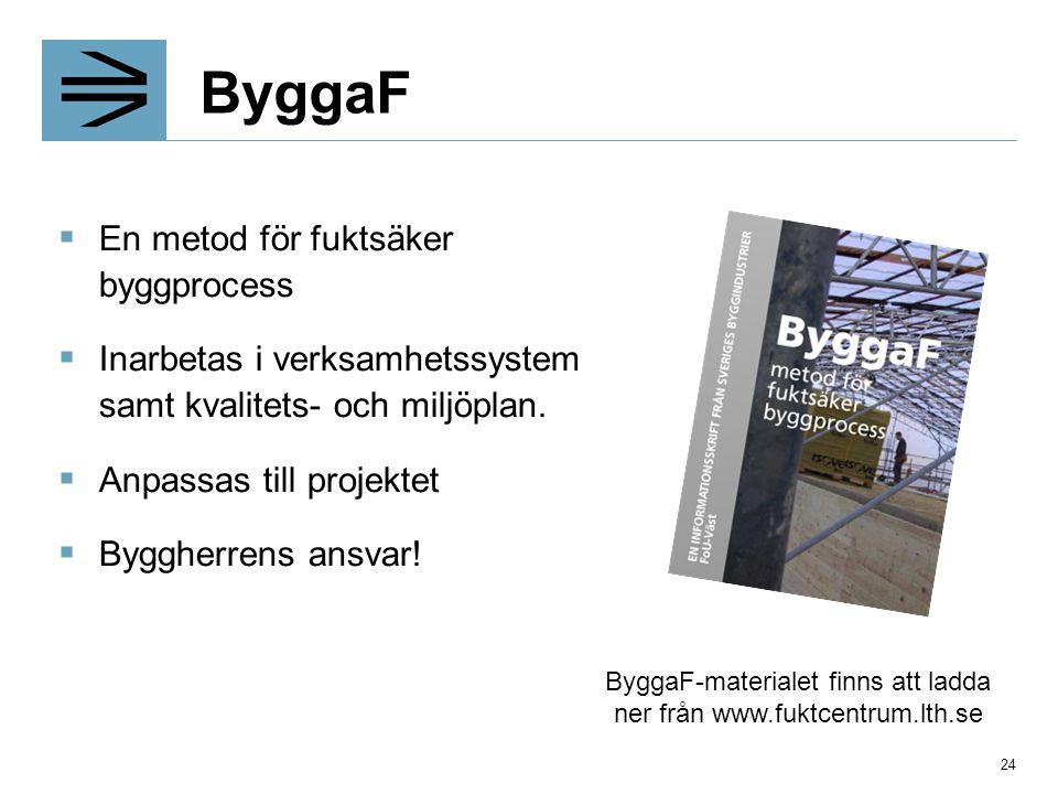 ByggaF  En metod för fuktsäker byggprocess  Inarbetas i verksamhetssystem samt kvalitets- och miljöplan.  Anpassas till projektet  Byggherrens ans