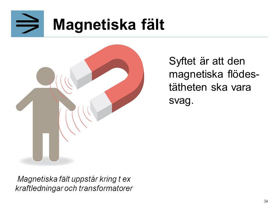 Magnetiska fält Syftet är att den magnetiska flödes- tätheten ska vara svag. Magnetiska fält uppstår kring t ex kraftledningar och transformatorer 34