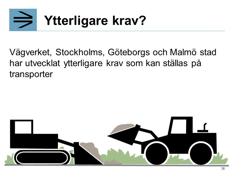 Ytterligare krav? Vägverket, Stockholms, Göteborgs och Malmö stad har utvecklat ytterligare krav som kan ställas på transporter 36