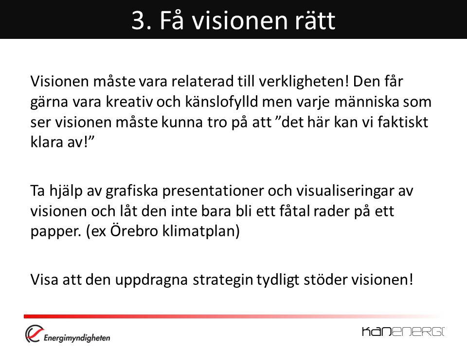 3.Få visionen rätt Visionen måste vara relaterad till verkligheten.