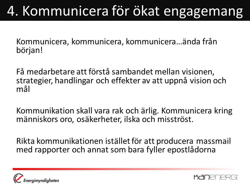 4.Kommunicera för ökat engagemang Kommunicera, kommunicera, kommunicera…ända från början.