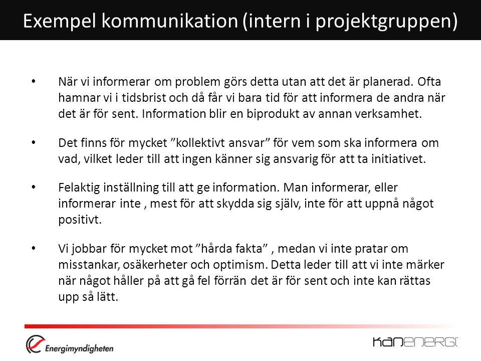 Exempel kommunikation (intern i projektgruppen) • När vi informerar om problem görs detta utan att det är planerad.
