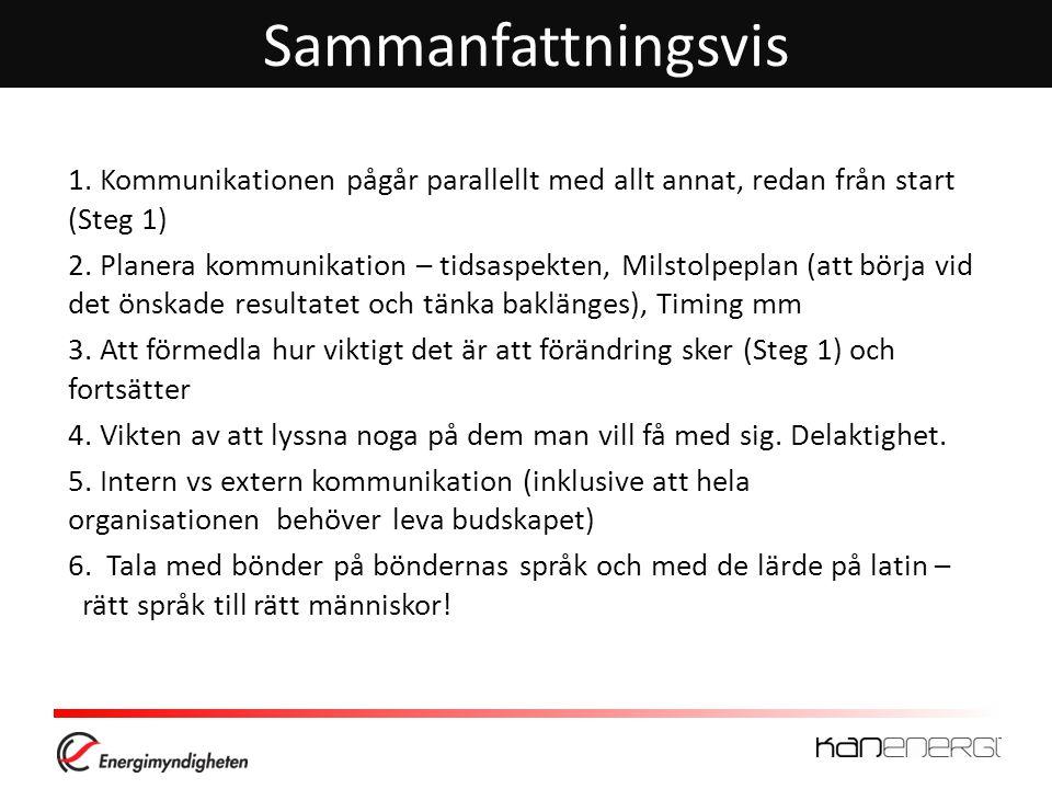 Sammanfattningsvis 1.Kommunikationen pågår parallellt med allt annat, redan från start (Steg 1) 2.
