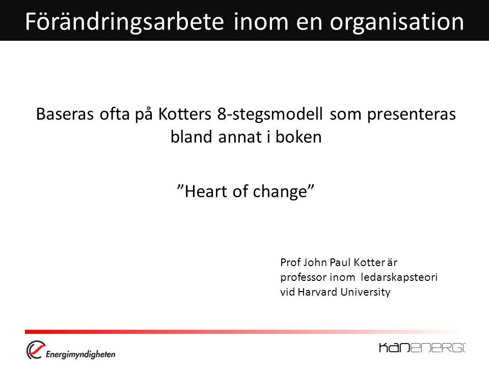 Förändringsarbete inom en organisation Baseras ofta på Kotters 8-stegsmodell som presenteras bland annat i boken Heart of change Prof John Paul Kotter är professor inom ledarskapsteori vid Harvard University