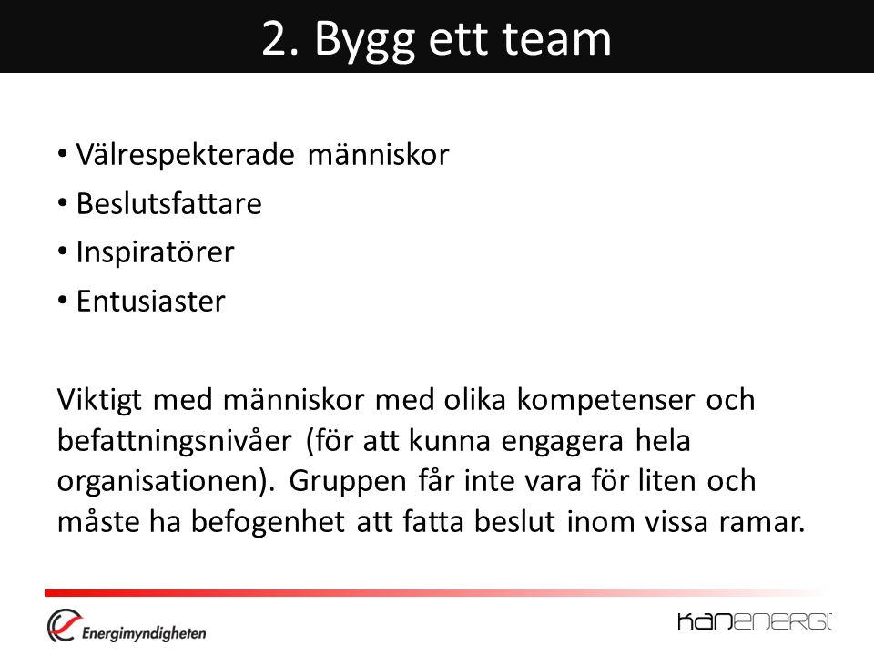 2. Bygg ett team • Välrespekterade människor • Beslutsfattare • Inspiratörer • Entusiaster Viktigt med människor med olika kompetenser och befattnings