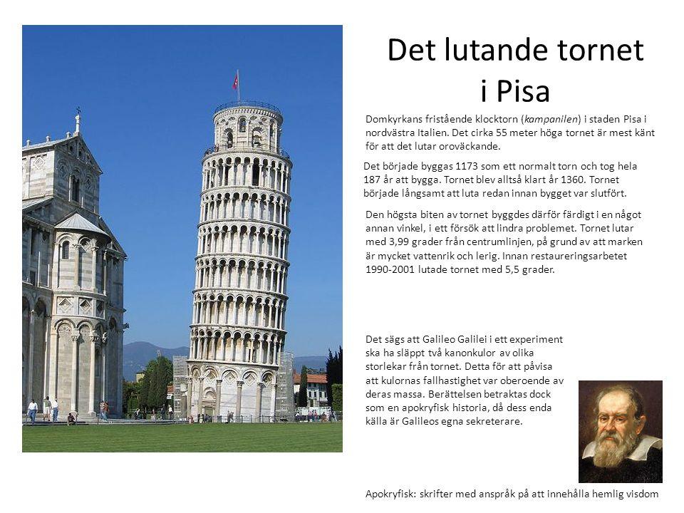 Den högsta biten av tornet byggdes därför färdigt i en något annan vinkel, i ett försök att lindra problemet. Tornet lutar med 3,99 grader från centru