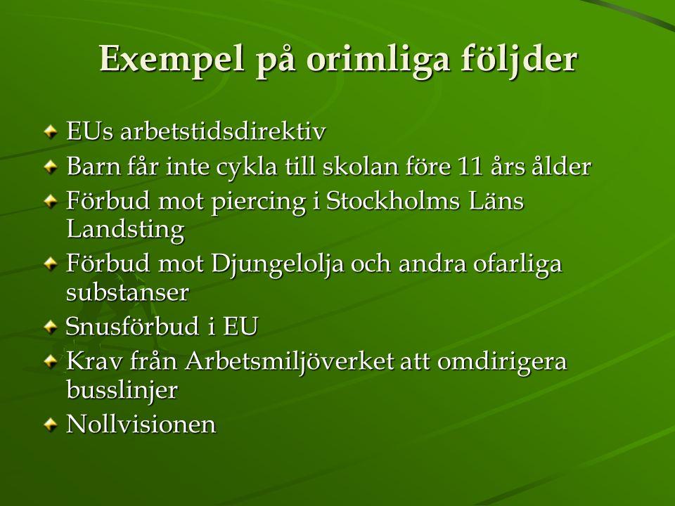 Exempel på orimliga följder EUs arbetstidsdirektiv Barn får inte cykla till skolan före 11 års ålder Förbud mot piercing i Stockholms Läns Landsting F