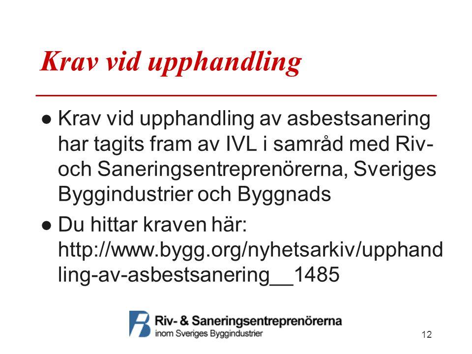 Krav vid upphandling ●Krav vid upphandling av asbestsanering har tagits fram av IVL i samråd med Riv- och Saneringsentreprenörerna, Sveriges Byggindus