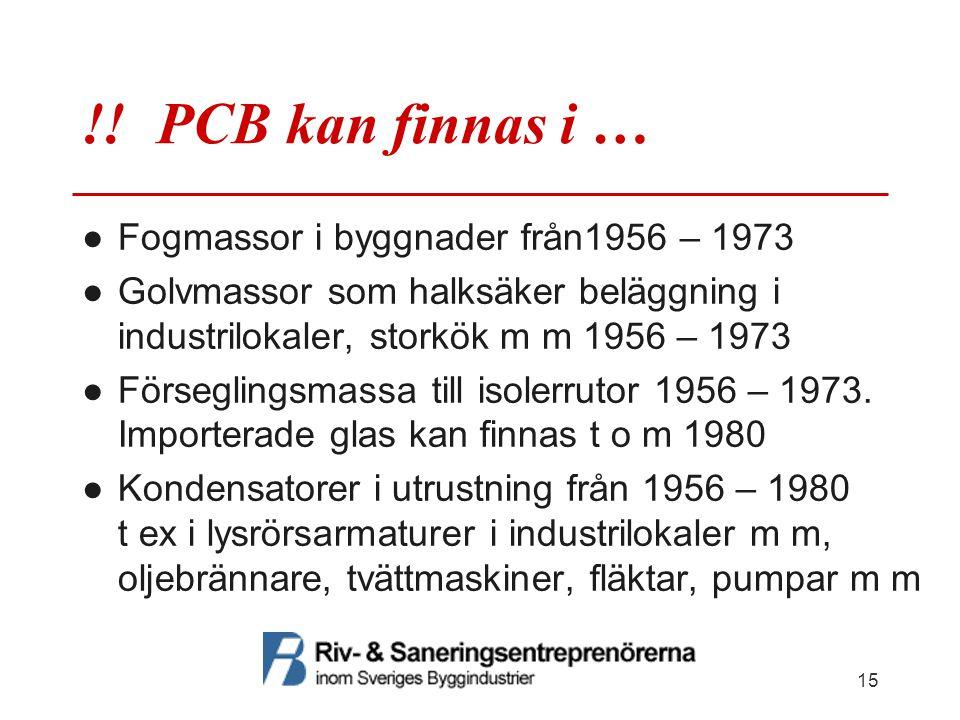 !! PCB kan finnas i … ●Fogmassor i byggnader från1956 – 1973 ●Golvmassor som halksäker beläggning i industrilokaler, storkök m m 1956 – 1973 ●Försegli