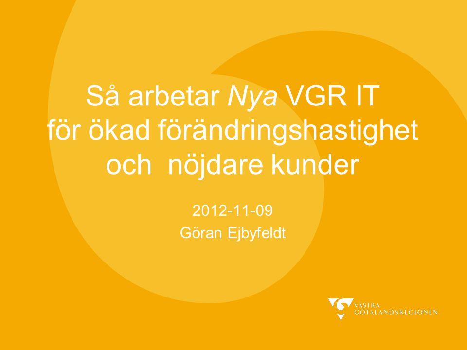 Så arbetar Nya VGR IT för ökad förändringshastighet och nöjdare kunder 2012-11-09 Göran Ejbyfeldt