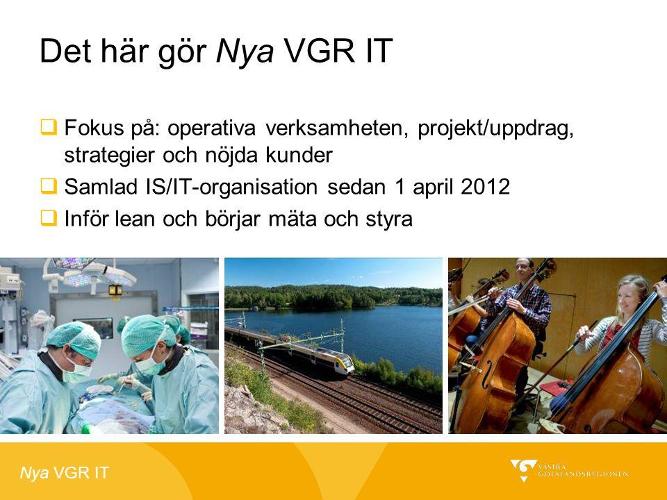 Nya VGR IT Det här gör Nya VGR IT  Fokus på: operativa verksamheten, projekt/uppdrag, strategier och nöjda kunder  Samlad IS/IT-organisation sedan 1