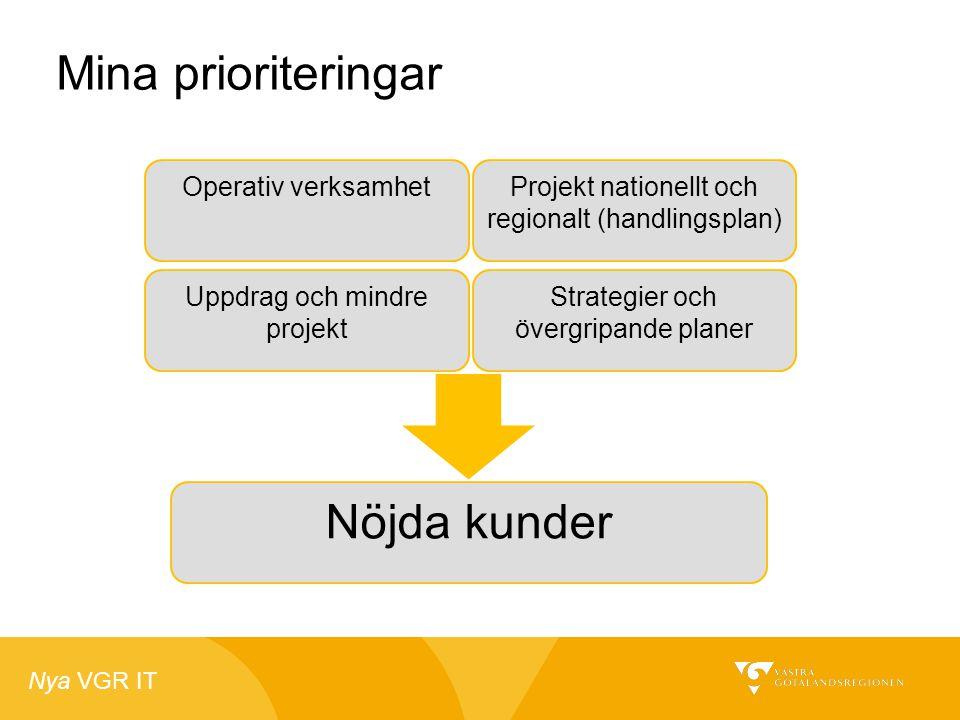 Nya VGR IT Mina prioriteringar Operativ verksamhet Uppdrag och mindre projekt Projekt nationellt och regionalt (handlingsplan) Strategier och övergrip