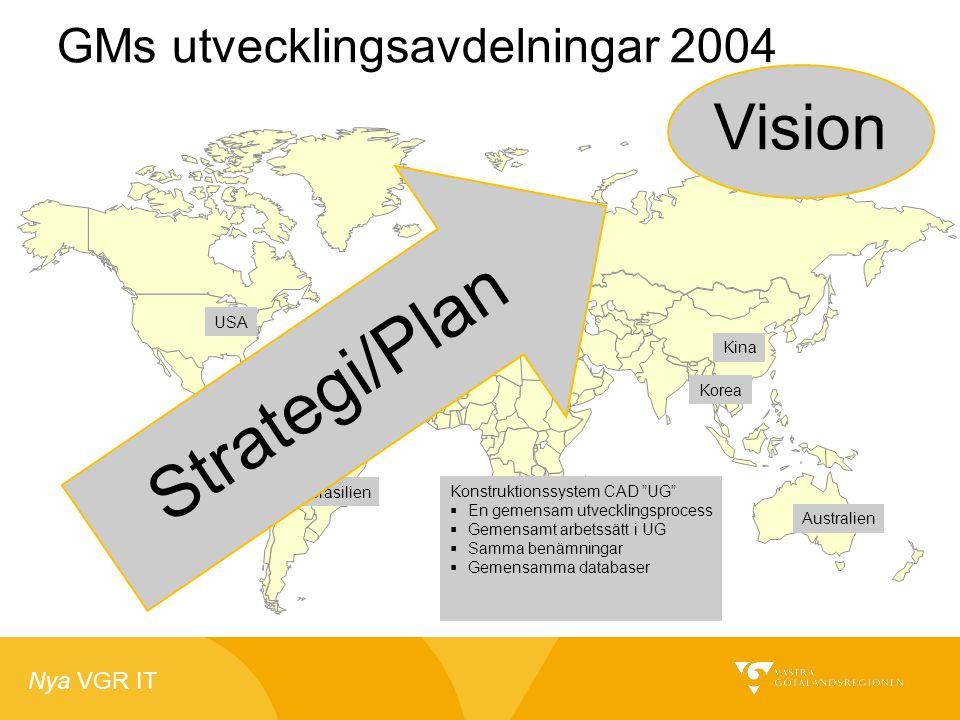 """Nya VGR IT GMs utvecklingsavdelningar 2004 USA Brasilien Tyskland Sverige Kina Korea Australien Konstruktionssystem CAD """"UG""""  En gemensam utvecklings"""