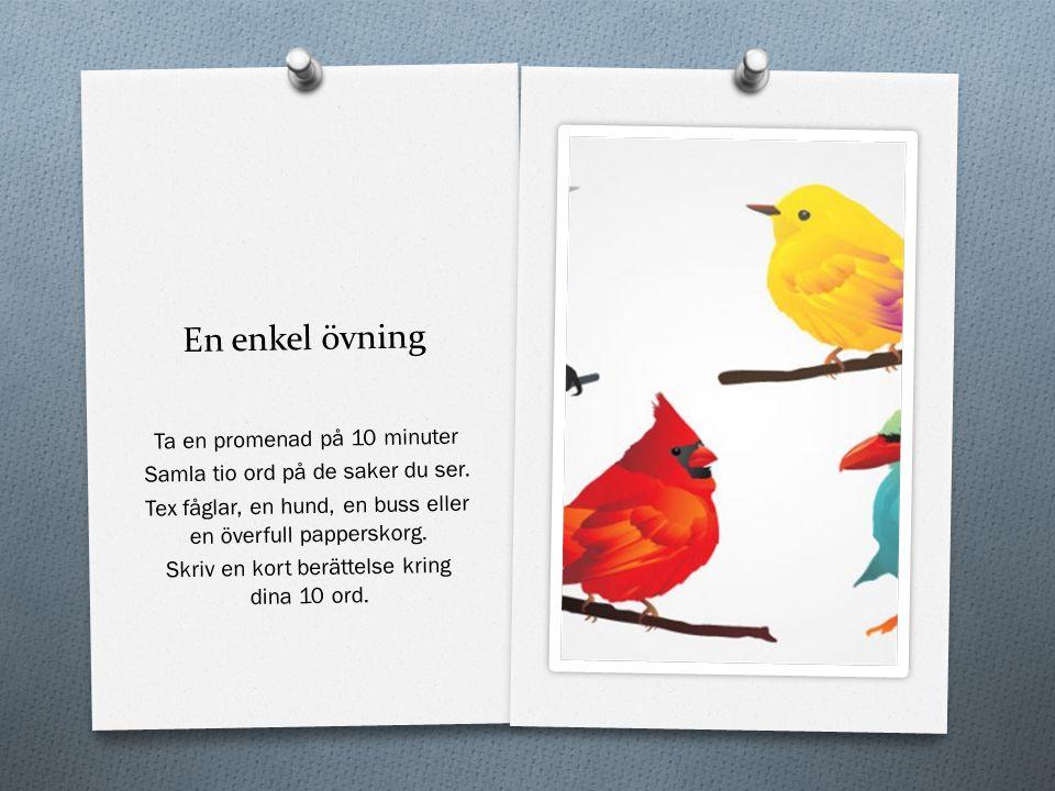 En enkel övning Ta en promenad på 10 minuter Samla tio ord på de saker du ser. Tex fåglar, en hund, en buss eller en överfull papperskorg. Skriv en ko