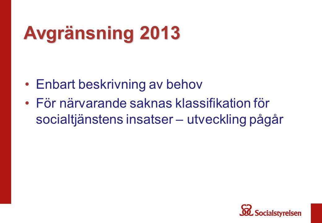 Avgränsning 2013 •Enbart beskrivning av behov •För närvarande saknas klassifikation för socialtjänstens insatser – utveckling pågår