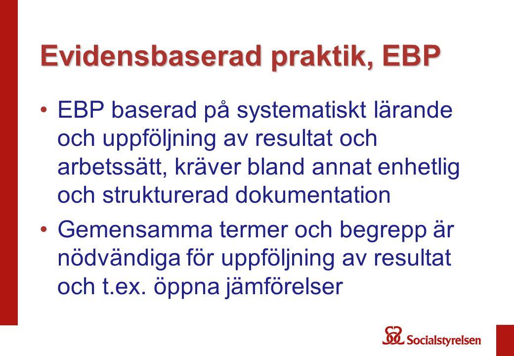 Evidensbaserad praktik, EBP •EBP baserad på systematiskt lärande och uppföljning av resultat och arbetssätt, kräver bland annat enhetlig och strukture