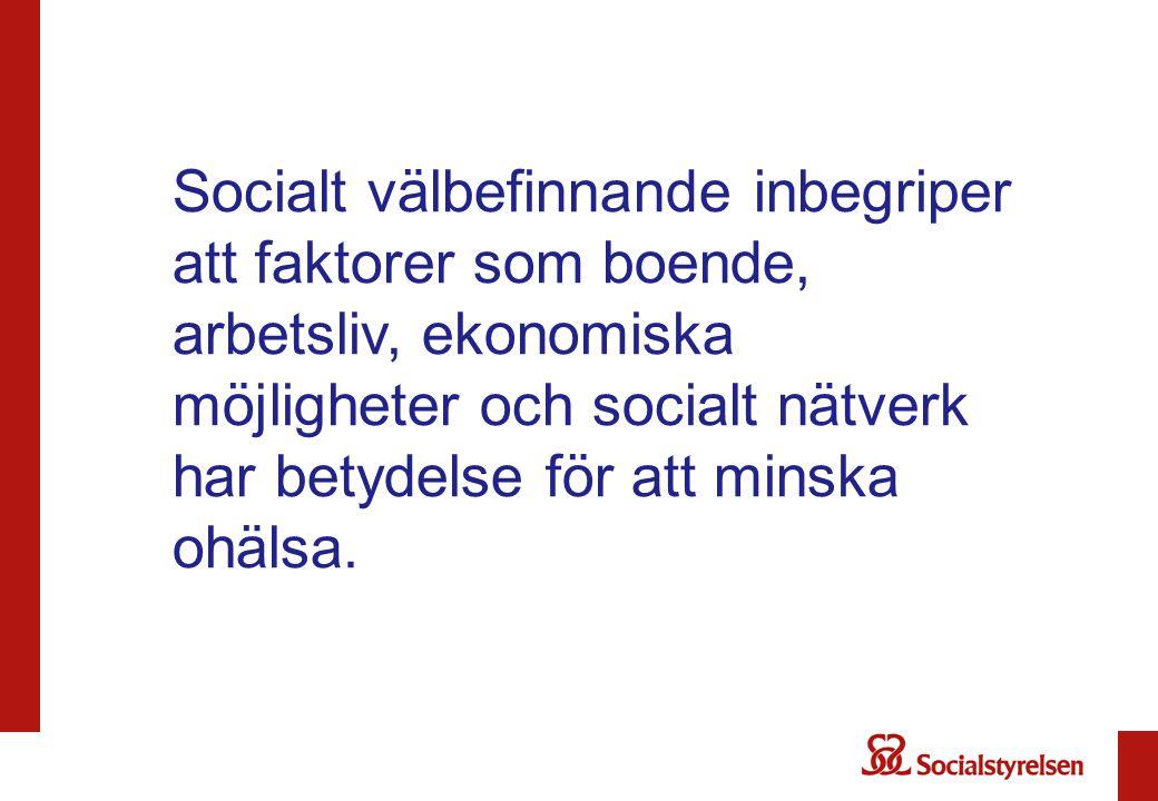 Socialt välbefinnande inbegriper att faktorer som boende, arbetsliv, ekonomiska möjligheter och socialt nätverk har betydelse för att minska ohälsa.