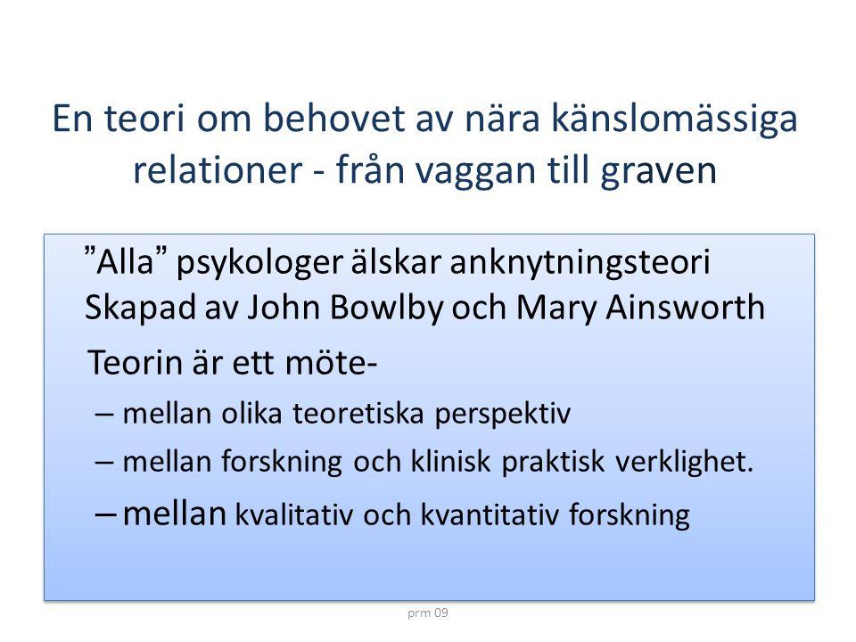 """prm 09 En teori om behovet av nära känslomässiga relationer - från vaggan till graven """" Alla """" psykologer älskar anknytningsteori Skapad av John Bowlb"""