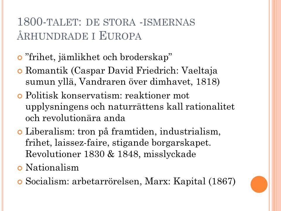 """1800- TALET : DE STORA - ISMERNAS ÅRHUNDRADE I E UROPA """"frihet, jämlikhet och broderskap"""" Romantik (Caspar David Friedrich: Vaeltaja sumun yllä, Vandr"""