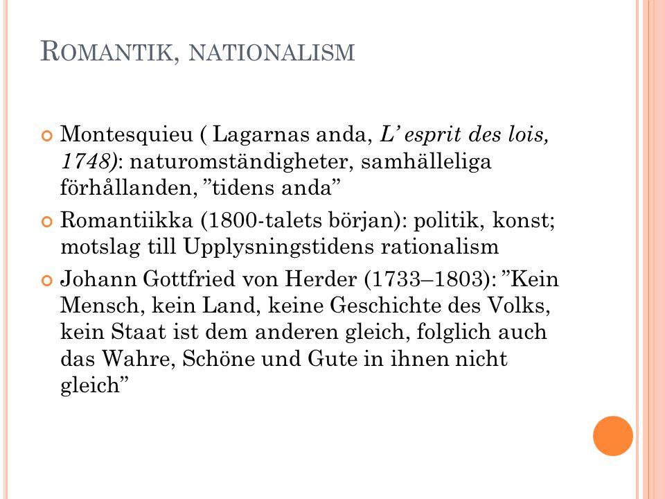 """R OMANTIK, NATIONALISM Montesquieu ( Lagarnas anda, L' esprit des lois, 1748) : naturomständigheter, samhälleliga förhållanden, """"tidens anda"""" Romantii"""