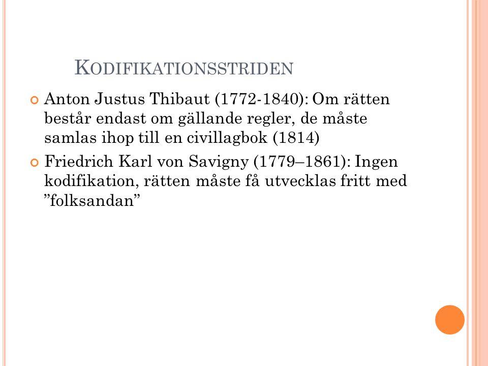 K ODIFIKATIONSSTRIDEN Anton Justus Thibaut (1772-1840): Om rätten består endast om gällande regler, de måste samlas ihop till en civillagbok (1814) Fr
