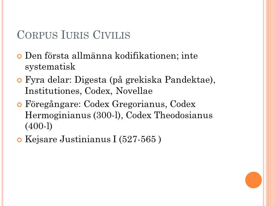 C ORPUS I URIS C IVILIS Den första allmänna kodifikationen; inte systematisk Fyra delar: Digesta (på grekiska Pandektae), Institutiones, Codex, Novell