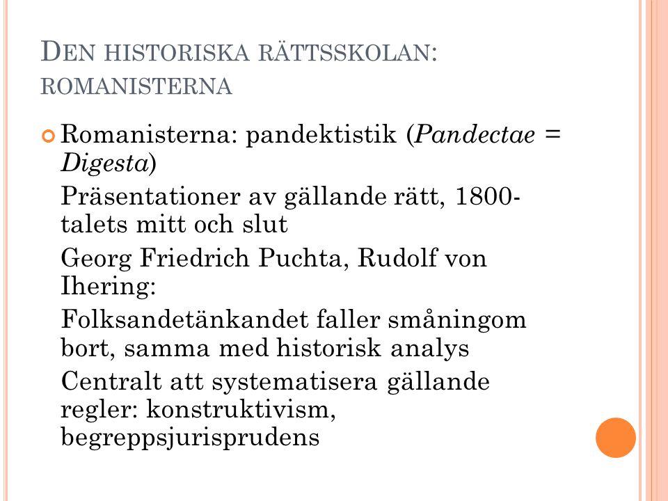 D EN HISTORISKA RÄTTSSKOLAN : ROMANISTERNA Romanisterna: pandektistik ( Pandectae = Digesta ) Präsentationer av gällande rätt, 1800- talets mitt och s