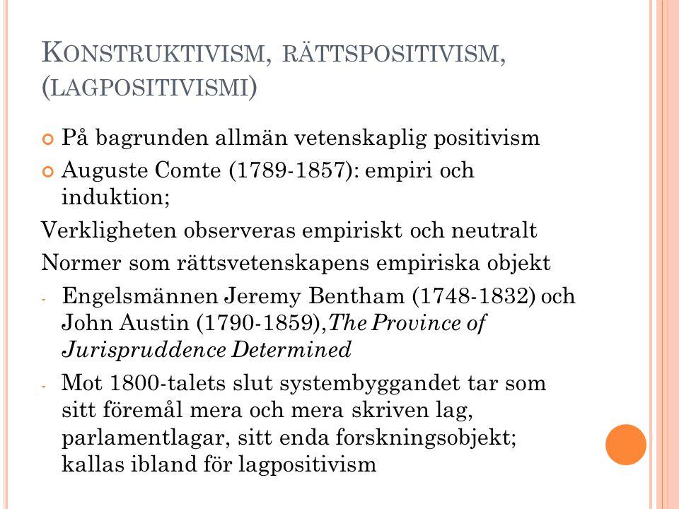 K ONSTRUKTIVISM, RÄTTSPOSITIVISM, ( LAGPOSITIVISMI ) På bagrunden allmän vetenskaplig positivism Auguste Comte (1789-1857): empiri och induktion; Verk