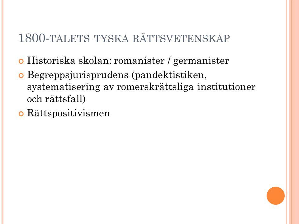 1800- TALETS TYSKA RÄTTSVETENSKAP Historiska skolan: romanister / germanister Begreppsjurisprudens (pandektistiken, systematisering av romerskrättslig